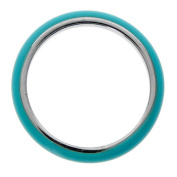 Metro Jewellery Stainless Steel Thin Ring with Blue Enamel