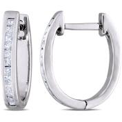 Miabella 1/4 Carat T.W. Princess-Cut Diamond Sterling Silver Clip-Back Earrings