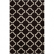 0.6m x 0.9m Mellow Web Winter White and Jet Black Wool Area Throw Rug