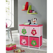 Altra Kids' 4-Bin Canvas Storage Unit, Pink with Flower Theme