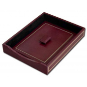 Dacasso A5601 24KT Gold Tooled Burgundy Leather Letter Tray with Lid