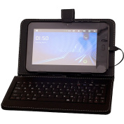 QFX 18cm Tablet Keyboard Case with miniUSB and Stylus, Black