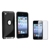 Insten Black S Shape TPU Case+3x Clear LCD Protector For iPod Touch 4 4th 4G Gen