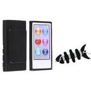 INSTEN Black TPU Cover Case w/Belt Clip+Headset Smart Wrap For Apple iPod Nano 7 7th Gen 7G