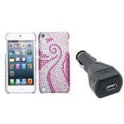 INSTEN Phoenix Tail Back Protector Case For iPod Touch 5 + USB Car Charger