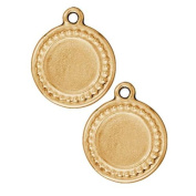 TierraCast Bezel Pendant, Circle with Beaded Edges 23.5mm, 1 Piece, Gold Plated