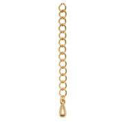 Matte Gold Plated 5mm Chain Necklace Extender W/ Drop 2 Inch
