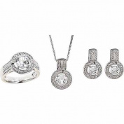 Round White Diamond Accent and Created White Sapphire Round Halo Silver-Tone Ring, Earrings and Pendant Set, 46cm