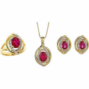 Accent Carat T.W. Round White Diamond Created Ruby Rhodium-Plated Ring, Earrings and Pendant Set, 46cm