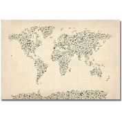 "Trademark Art ""Music Note World Map"" Canvas Art by Michael Tompsett"