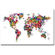 "Trademark Art ""Love & Hearts World Map"" Canvas Art by Michael Tompsett"