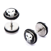 Steel Skull Stud Ear Plugs