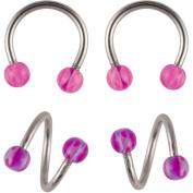 Hot Silver Basics Surgical Steel Horseshoe Earrings Set, Multi-Coloured