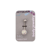 14-Gauge Lead Crystal Belly Ring