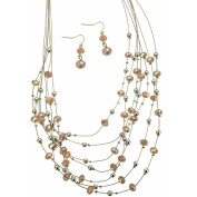 Light Tone Imitation Rhodium 7-Row Necklace with Pink and Silvertone Beads with Matching Earrings Set, 47cm