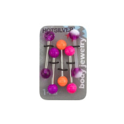 14-Gauge Tongue Barbell Value Pack, Neon Pink