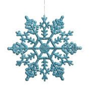 Club Pack of 24 Turquoise Blue Glitter Snowflake Christmas Ornaments 10cm
