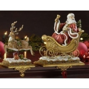 Set of 2 Santa Claus and Reindeer Christmas Stocking Holders