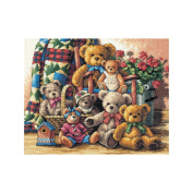 """Dimensions Gold Collection """"Teddy Bear Gathering"""" Counted Cross Stitch Kit, 38cm x 30cm"""