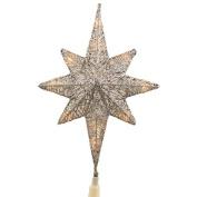 30cm Lighted Silver Glitter Star of Bethlehem Christmas Tree Topper -Clear Lights