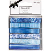 Papermania Burleigh Blue Ribbon Carded, 6 Styles, 1 Metre Each
