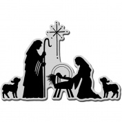 Stampendous Christmas Cling Rubber Stamp, Manger Scene