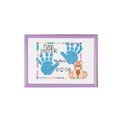 Special Moments Baby Handprints Mini Counted Cross Stitch Ki-18cm x 13cm 14 Count Magenta Frame
