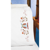 Owl Pillowcase Pair Stamped Cross Stitch, 50cm x 80cm