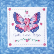 Butterfly Of Hope Quilt Blocks Stamped Cross Stitch, 38cm x 38cm 6/pkg