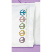 Peace Sign Pillowcase Pair Stamped Cross Stitch, 50cm x 80cm
