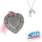 Gloria Duchin 2pc Breast Cancer Awareness Ornament and Necklace Set, 46cm