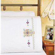 Janlynn Religious Cross Pillowcase Pair Stamped Cross Stitch, 50cm x 80cm