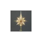 25cm Multi-Point Star of Bethlehem Glass Gem Christmas Tree Topper - Clear Lights