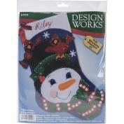 Snowman & Cardinals Stocking Felt Applique Kit-43cm Long
