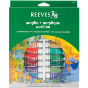 Reeves Acrylic Paints 10ml 24/Pkg-Assorted Colours