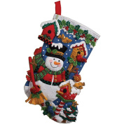 Bucilla Felt Applique Stocking, Snowman with Birds