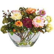 Peony with Glass Vase Silk Flower Arrangement