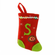 "16cm Red and Green Monogrammed ""S"" Mini Christmas Stocking"