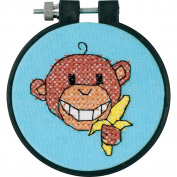 Dimensions Learn-a-Craft Monkey Stamped Cross Stitch Kit, 7.6cm round