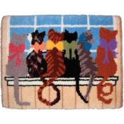 M C G Textiles Latch Hook Kit, 70cm by 90cm , Cat Tails