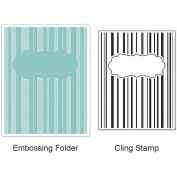 Sizzix Textured Impressions Embossing Folder and Cling Rubber Stamp Set, Hero Arts Stripes & Frames