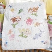 Mermaid Bay Crib Cover Stamped Cross Stitch Kit, 90cm x 110cm