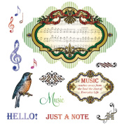 JustRite Stampers Cling Stamp Set, Musical Notes 14pc