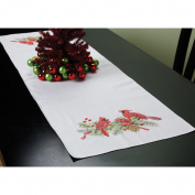 BUCILLA Stamped Cross Stitch Cardinals Table Runner Kit, 36cm by 110cm
