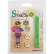 Manuscript Pen Decorative Sealing Set W/Green Wax, Flower, Leaf & Snowflake Coins