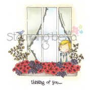Stamping Bella Cling Rubber Stamp 10cm x 9.5cm -Uptown Girl Peeking Out The Window