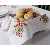 BUCILLA Stamped Cross Stitch Cardinals Bread Cover Kit, 46cm by 46cm