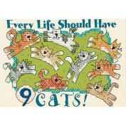 Dimensions Nine Cats Mini Stamped Cross Stitch Kit, 18cm x 13cm