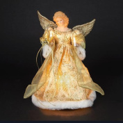36cm Lighted Angel in Gold Snowflake Dress Christmas Tree Topper Figure