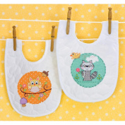 "Dimensions Baby Hugs ""Happi Woodland"" Bib Pair Stamped Cross Stitch Kit, 23cm x 36cm , Set of 2"